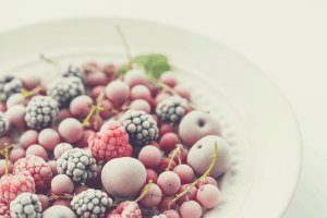 Frozen berries on a plate